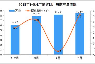 2018年5月广东省日用玻璃产量同比增长5.3%