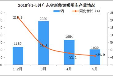 2018年1-5月广东省新能源汽车产量分析:5月份同比下降39.9