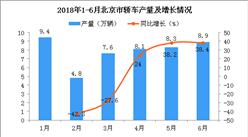 2018年6月北京市轿车产量为8.9万辆 同比增长38.4%