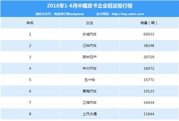 2018年1-6月中国皮卡企业销量排行榜(TOP10)