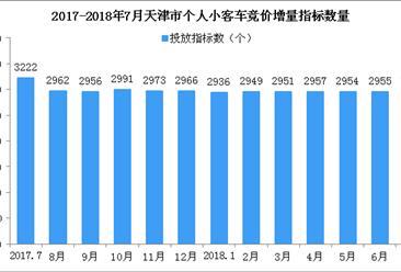 2018年7月天津车牌竞价预测:个人最低成交价波动不大(图)