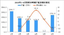 2018年6月贵阳市啤酒产量同比下降11.7%