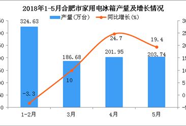2018年5月合肥市家用电冰箱累计产量同比增长13.8%