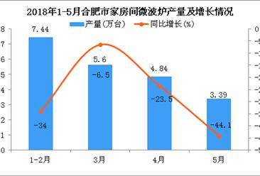 2018年1-5月合肥市微波炉产量及增长情况分析:同比下降28.3%
