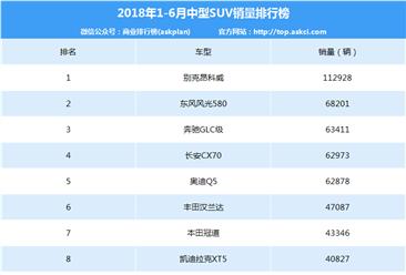 2018年1-6月中型SUV车型销量排行榜