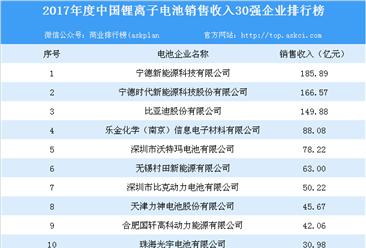 2017年中国锂离子电池销售收入30强企业榜单出炉:销售收入合计1223.03亿