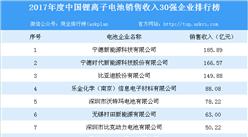 2017年度中國鋰離子電池銷售收入30強企業排行榜