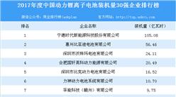 2017年度中國動力鋰離子電池裝機量30強企業排行榜