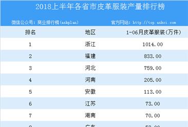 2018年上半年全国各省市皮革服装产量排行榜