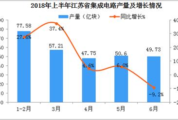 2018年上半年江苏省集成电路累计产量为282.87亿块  同比增长22.1%
