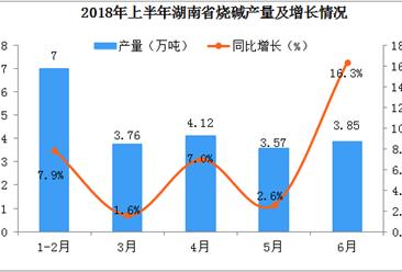 2018年上半年湖南省烧碱产量数据分析:同比增长7.2%
