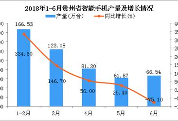 2018年1-6月贵州省手机产量及增长情况分析:同比下降30.1%(附图)