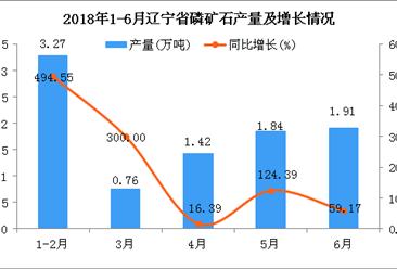 2018年6月辽宁省磷矿石产量为1.91万吨 同比增长59.17%