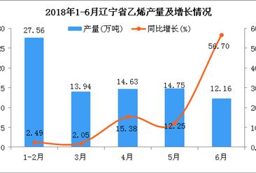 2018年6月辽宁省乙烯产量同比增长56.7%(附图)