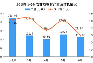 2018年6月吉林省钢材产量为113.03万吨 同比增长29.1%
