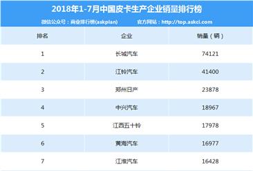 2018年1-7月中国皮卡企业销量排行榜(TOP10)