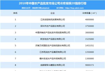 2018年中国农产品批发市场公司冷库规模20强排行榜