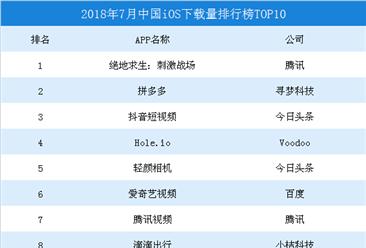 2018年7月中国iOS应用市场数据汇总:王者荣耀霸占收入榜单