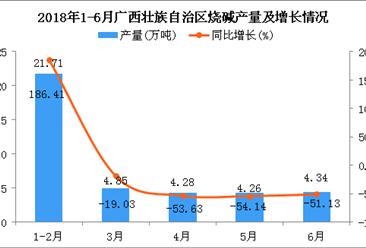 2018年1-6月广西壮族自治区烧碱产量及增长情况分析:同比下降46.24%