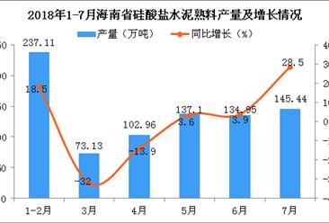 2018年7月海南省硅酸盐水泥熟料产量为145.44万吨 同比增长28.5%