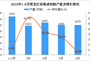 2018年1-6月黑龙江省集成电路产量同比增长17.47%
