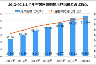 2018上半年中国网络购物用户数据分析:占整体网民比例达71%(图)