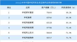 2018年上半年中国手机网民各类互联网应用使用率排行榜