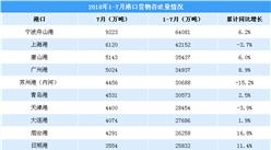 上海港下滑3.7% 2018年1-7月港口货物吞吐量排名分析(附图表)