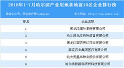 产业地产情报:2018年1-7月哈尔滨产业用地拿地前10名企业排行榜
