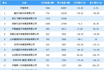 2018年1-7月中型货车企业销量排行榜:重庆力帆居第一