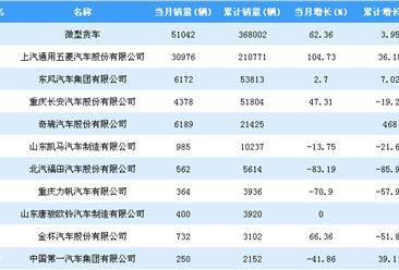 2018年1-7月微型货车企业销量排行榜TOP10