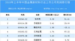 2018上半年中国金属新材料行业上市公司利润排行榜