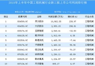 2018年上半年中国工程机械行业新三板上市公司利润排行榜