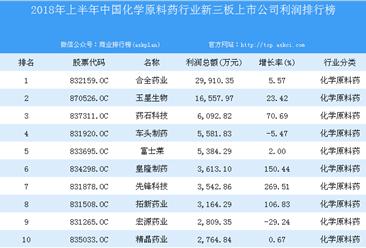2018年上半年中国化学原料药行业新三板上市公司利润排行榜