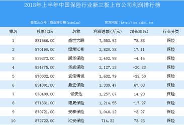 2018年上半年中国保险行业新三板上市公司利润排行榜