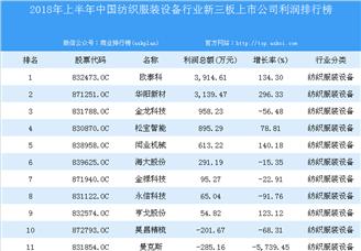 2018年上半年中国纺织服装设备行业新三板上市公司利润排行榜