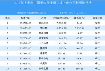 2018年上半年中国餐饮行业新三板上市公司利润排行榜TOP20