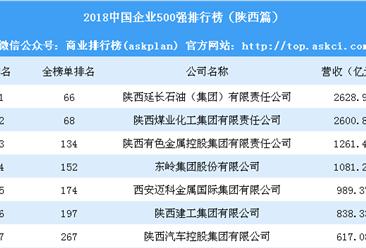 2018中国企业500强排行榜(陕西篇)