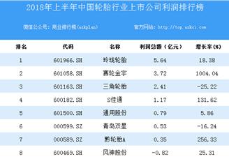 2018上半年中国轮胎行业上市公司利润排行榜