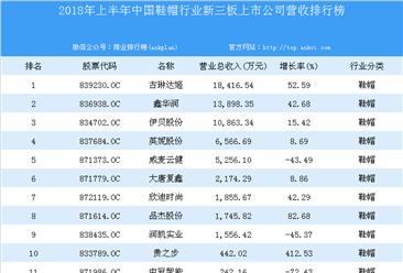 2018年上半年中国鞋帽行业新三板上市公司营收排行榜