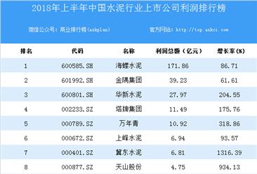 2018上半年中国水泥行业上市公司利润排行榜