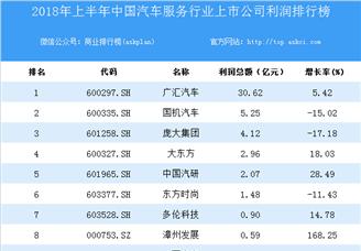 2018上半年中国汽车服务行业上市公司利润排行榜