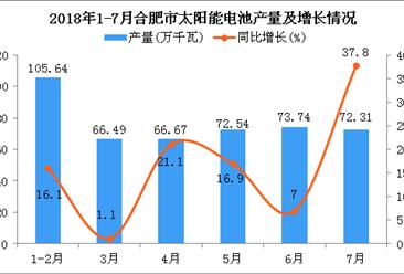 2018年1-7月合肥市太阳能电池产量同比增长15.9%(附图)