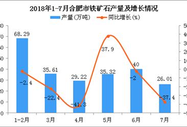 2018年1-7月合肥市铁矿石产量为234.45万吨 同比下降14.3%