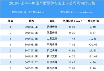 2018上半年中国平面媒体行业上市公司利润排行榜