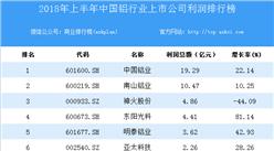 2018上半年中國鋁業上市公司利潤排行榜