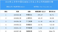 2018上半年中国石油加工行业上市公司利润排行榜