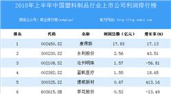 2018上半年中國塑料制品行業上市公司利潤排行榜