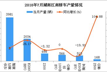2018年7月湖南江南轿车分车型产销量分析:E200居第一