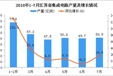 2018年1-7月江苏省集成电路产量为333.8亿块 同比增长21.5%